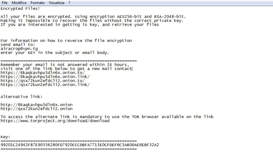 aira virus file criptati