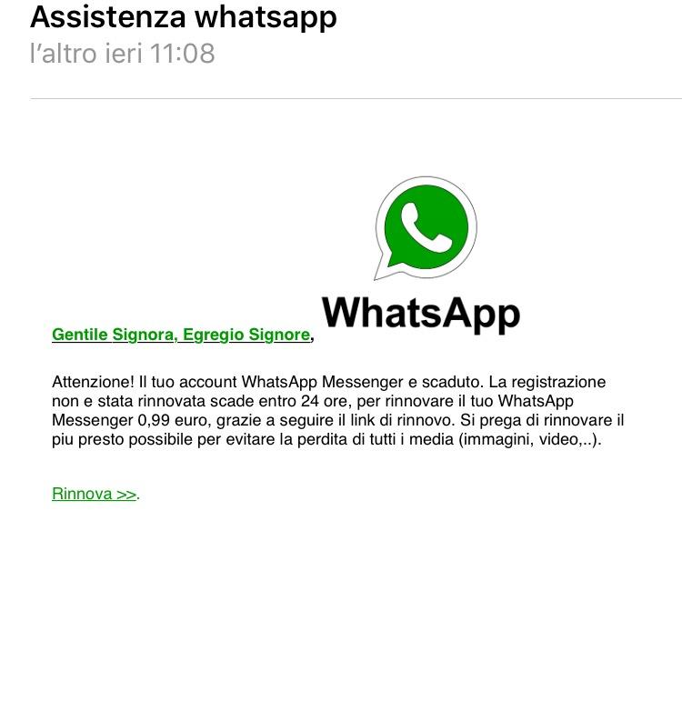 email rinnovo whatsapp